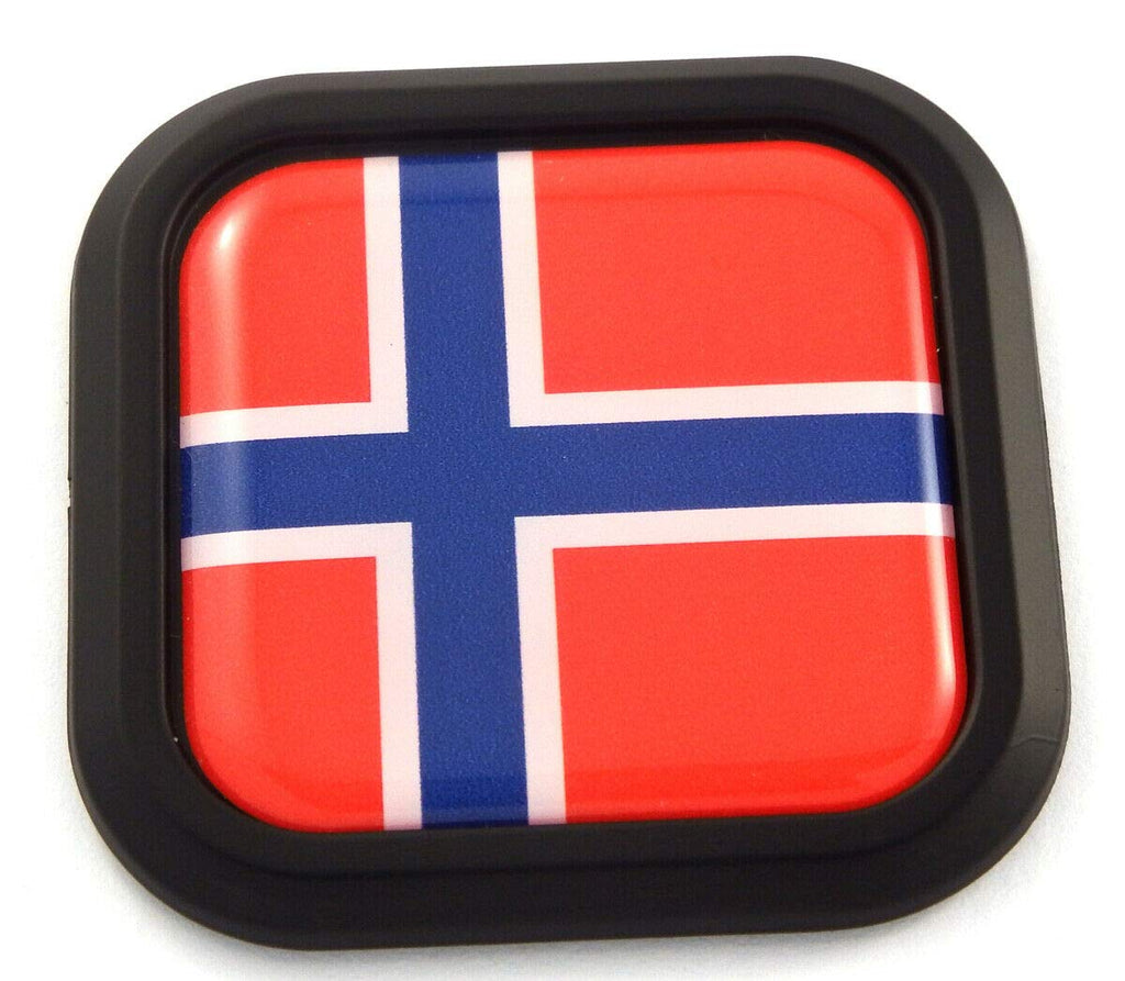 Norway Flag Square Black rim Emblem Car 3D Decal Badge Hood Bumper sticker 2""