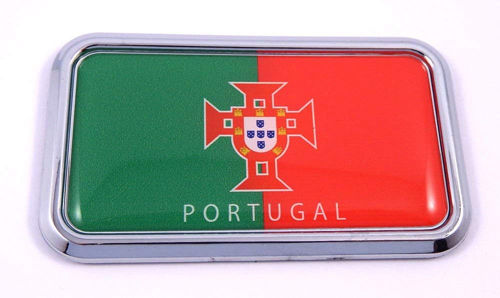 "Portugal Portugese Flag rectanguglar Chrome Emblem Car Decal Sticker 3""x1.75"""