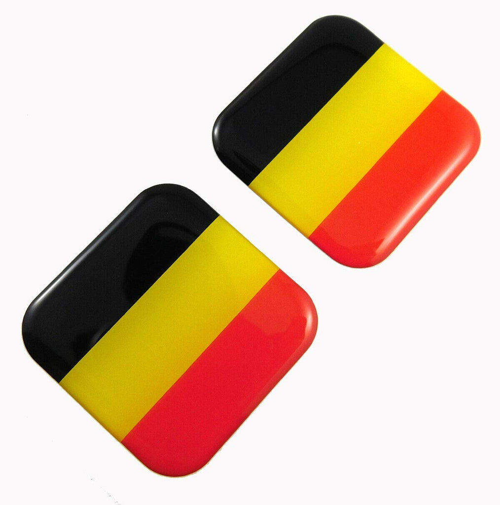 "Belgium Flag Square Domed Decal Emblem car Bike Gel Stickers 1.5"" 2pc."