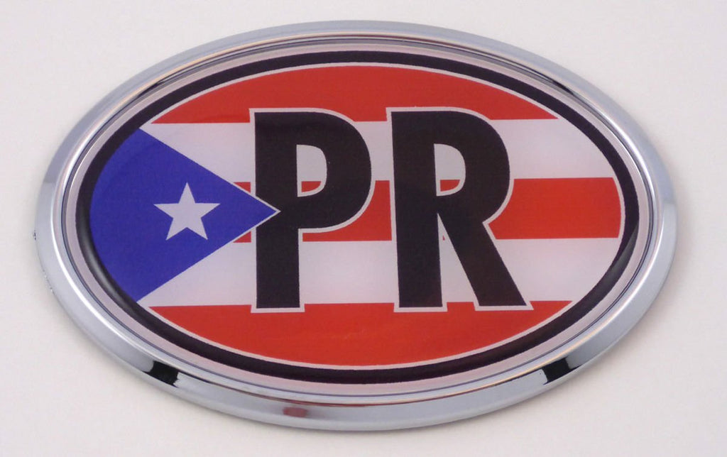 Puerto Rico PR Car Chrome Emblem Bumper Sticker Flag Decal Oval