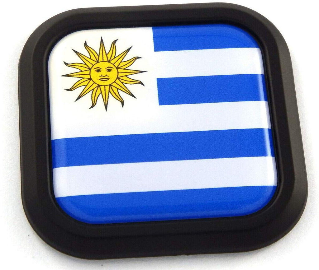 Uruguay Flag Square Black rim Emblem Car 3D Decal Badge Hood Bumper sticker 2""