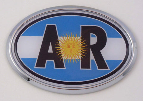 Argentina AR Flag Car Chrome Emblem Bumper Sticker Flag Decal Oval