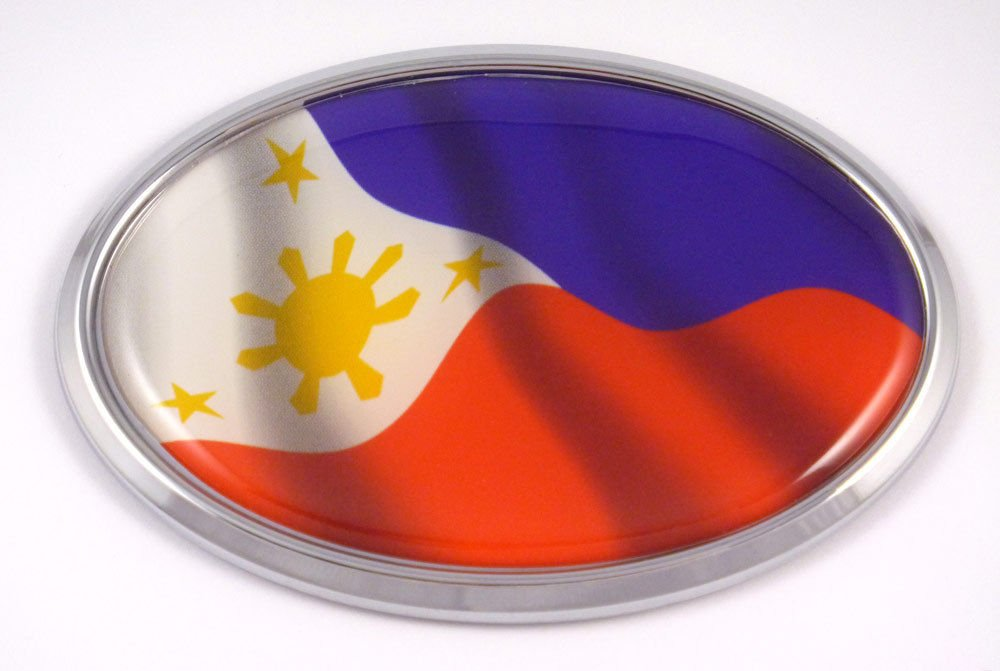 Philippine Flag Car Chrome Emblem Bumper Sticker Philippinian Flag Decal Oval