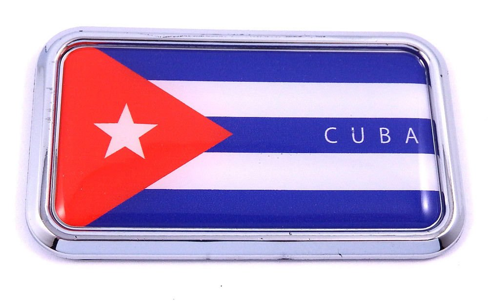 "Cuba Cuban Flag rectanguglar Chrome Emblem 3D Car Decal Sticker 3"" x 1.75"""