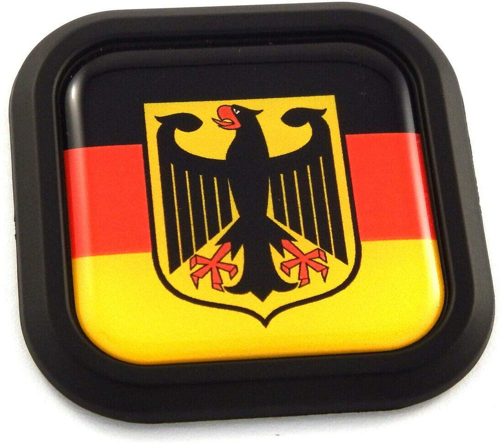 German Eagle Flag Square Black rim Emblem Car 3D Decal Badge Bumper sticker 2""