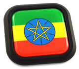 Ethiopia Flag Square Black rim Emblem Car 3D Decal Badge Hood Bumper sticker 2""