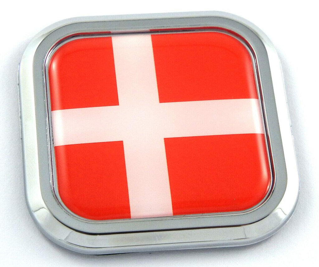 Denmark Flag Square Chrome rim Emblem Car 3D Decal Badge Hood Bumper sticker 2""