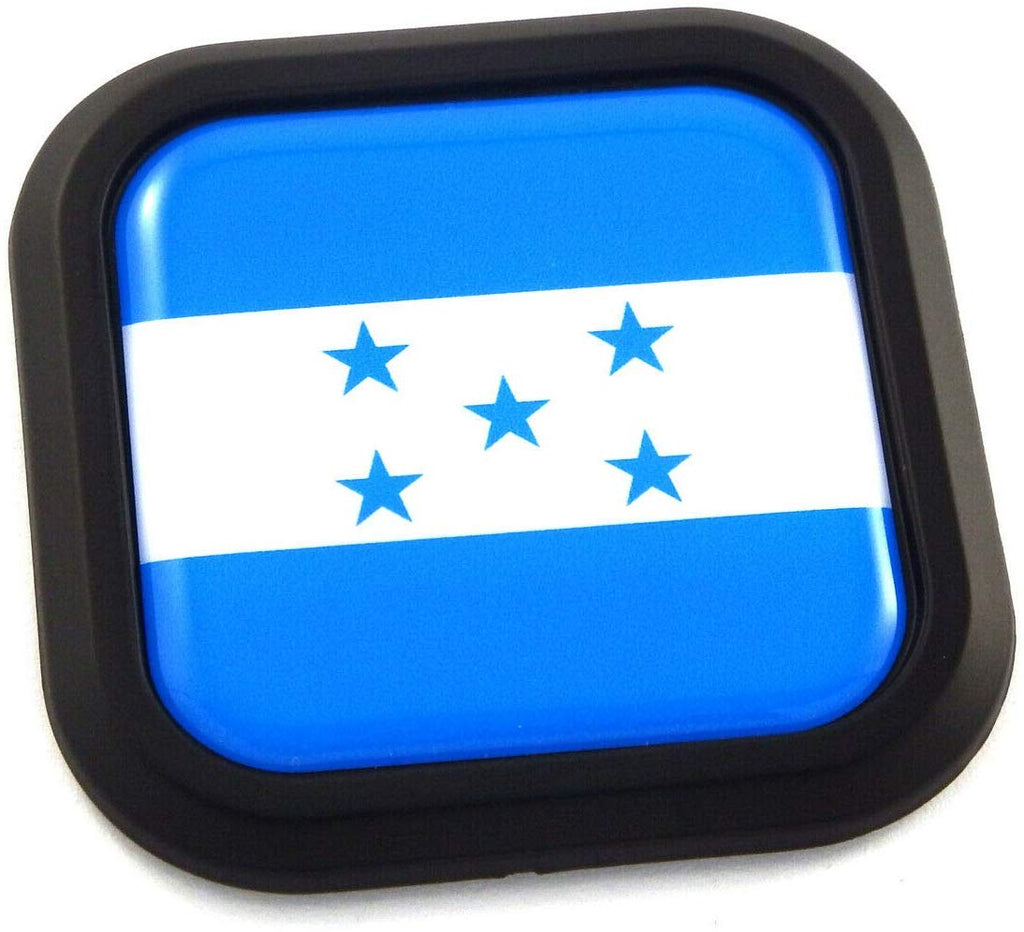 Honduras Flag Square Black rim Emblem Car 3D Decal Badge Hood Bumper sticker 2""