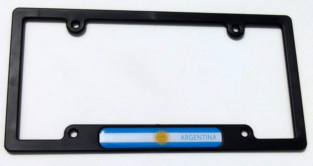 Argentina Flag Black Plastic Car License plate frame with domed colour flag lens