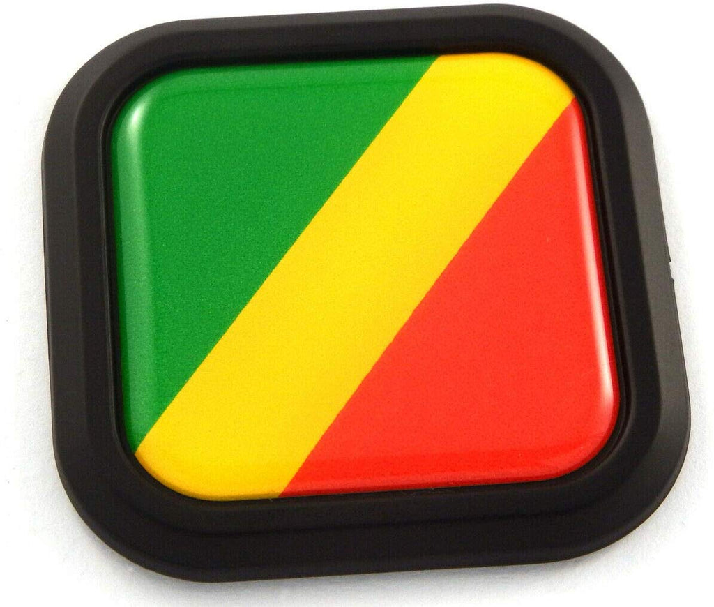 Congo Flag Square Black rim Emblem Car 3D Decal Badge Hood Bumper sticker 2""