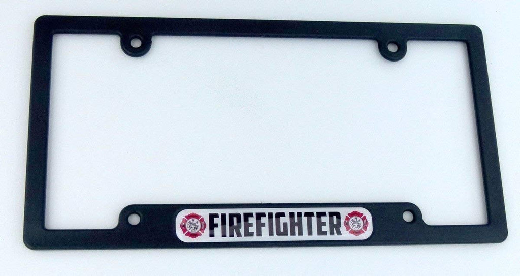 Firefighter Flag Black Plastic Car License Plate Frame Domed Colour Lens