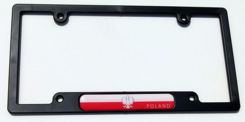 Poland Polska Flag Black Plastic Car License Plate Frame Dome Decal Polish Eagle