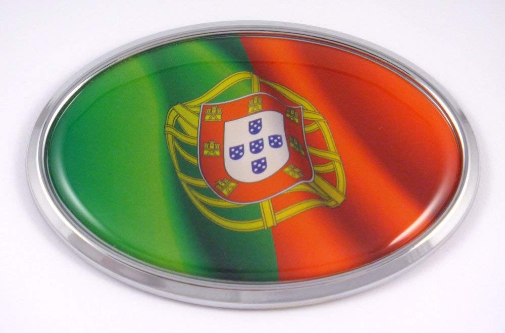 Portugal Portuguese Oval Car Chrome Emblem Decal Bumper Sticker