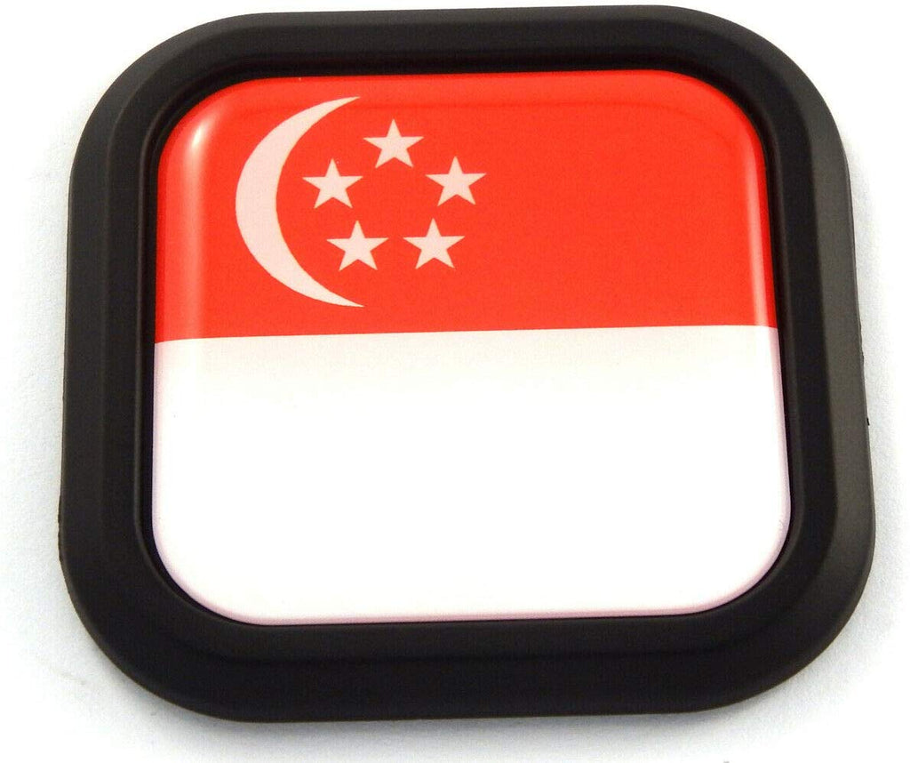 Singapore Flag Square Black rim Emblem Car 3D Decal Badge Hood Bumper sticker 2""