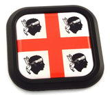 Sardinia Flag Square Black rim Emblem Car 3D Decal Badge Hood Bumper sticker 2""