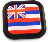 Hawaii Flag Square Black rim Emblem Car 3D Decal Badge Hood Bumper sticker 2""