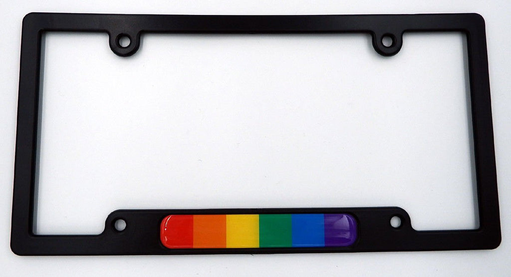 Pride Black Plastic Car License Plate Frame with Domed Decal Insert Flag Rainbow