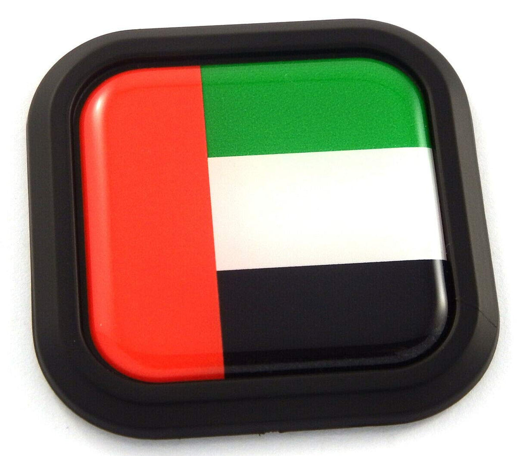 UAE Flag Square Black rim Emblem Car 3D Decal Badge Hood Bumper sticker 2""