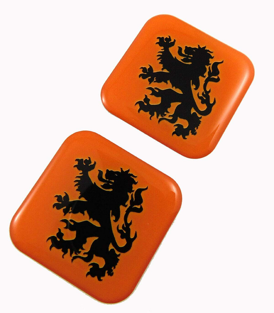 "Holland Flag Square Domed Decal car Bike Gel Stickers 1.5"" 2pc"