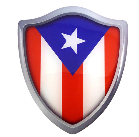"Puerto Rico Flag Shield Domed Decal 3D Look Emblem Resin car Sticker 2.6""x3"""