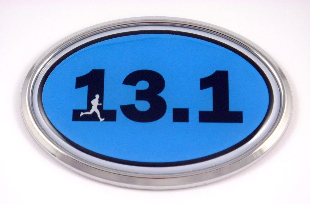 13.1 Half Marathon Runner Emblem Chrome car Decal Blue auto Dome Sticker Man Men Sport