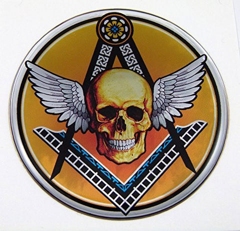 Masonic logo with Skull Round Emblem domed decal on chrome Bike Motorcycle Car