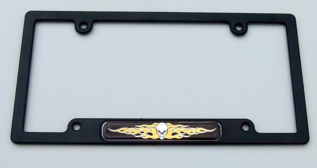 Skull with Flames Flag Black Plastic Car License Plate Frame Dome Decal