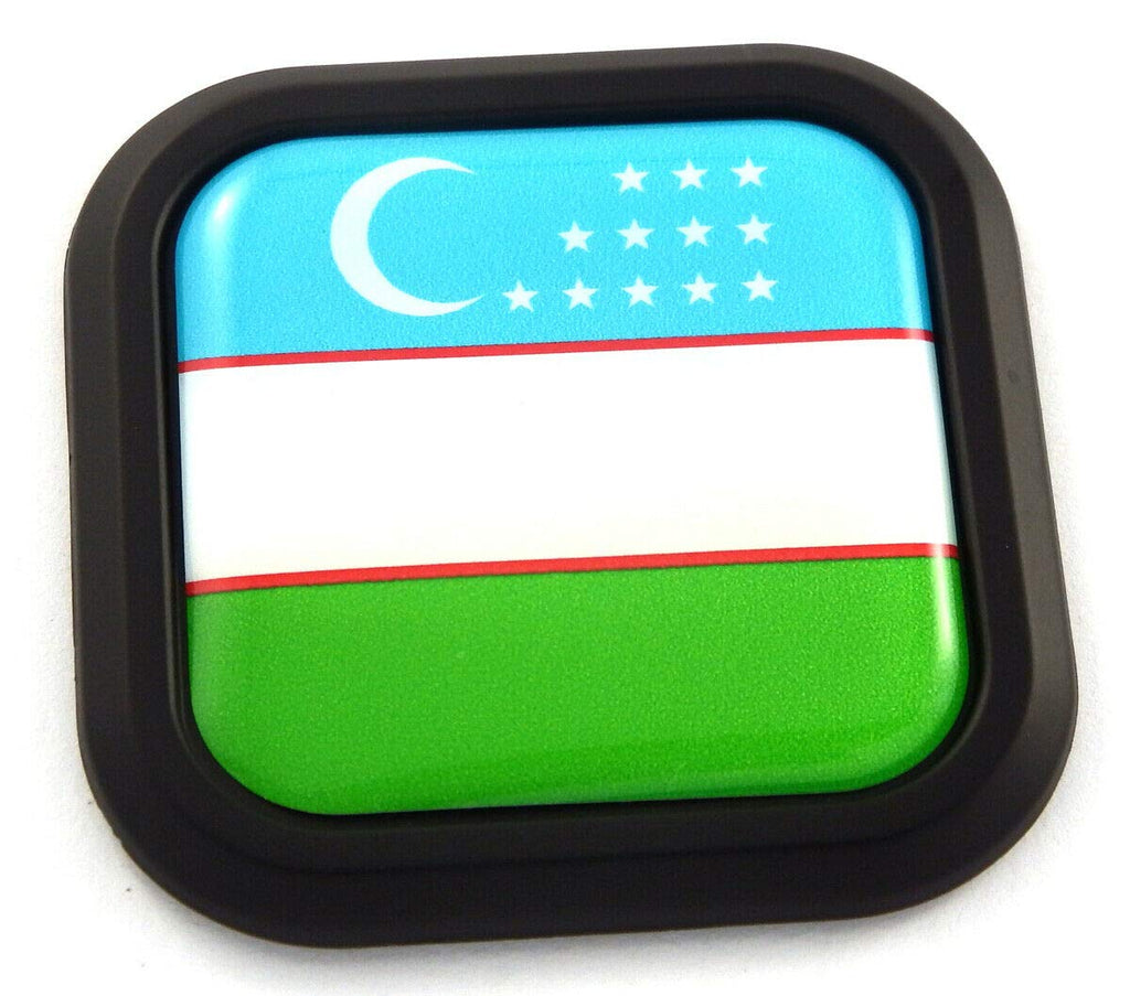 Uzbekistan Flag Square Black Emblem rim Car 3D Decal Badge Bumper sticker 2""
