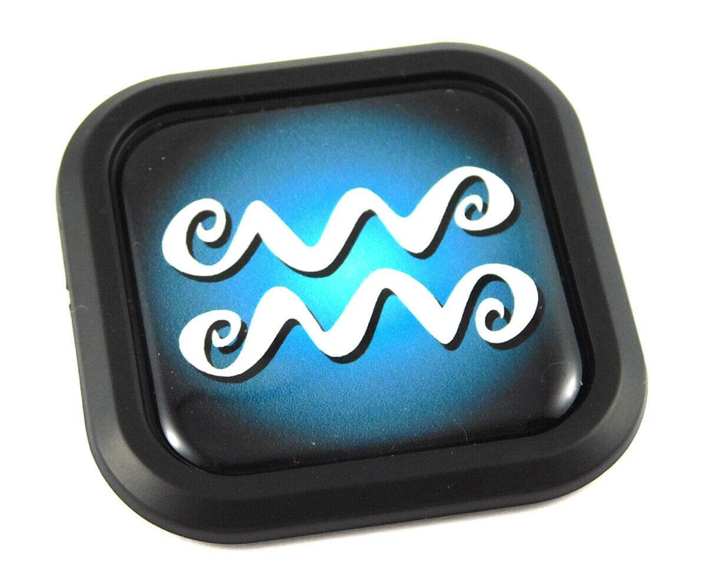 Aquarius Zodiac Square Black edge rim Emblem Car 3D Decal Badge Bumper 2""