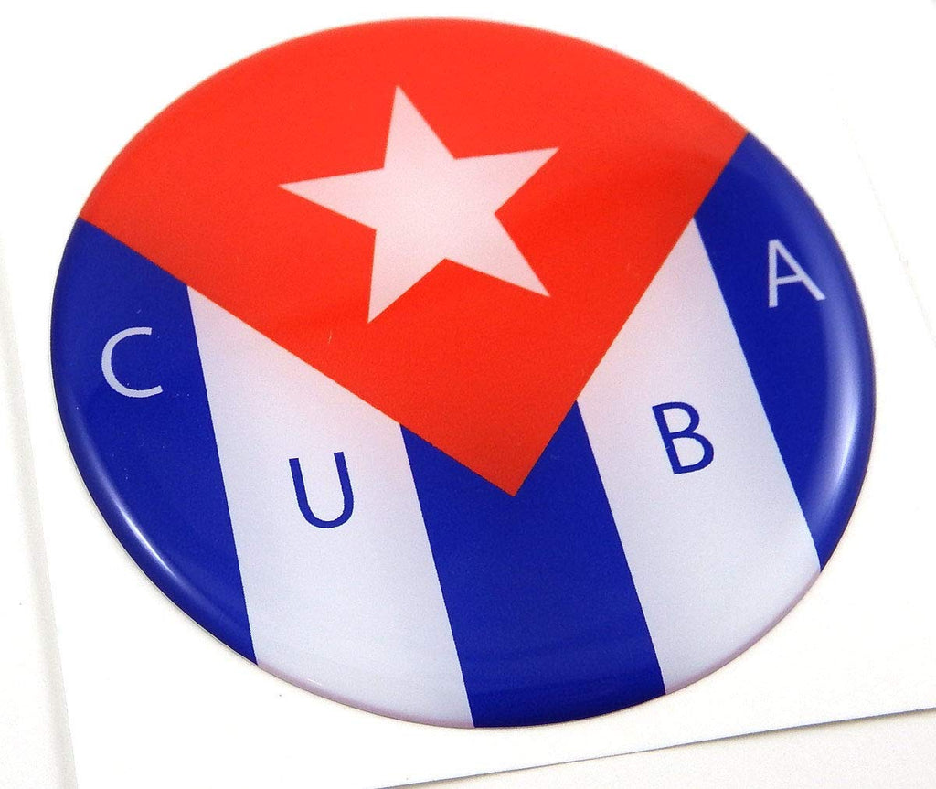 Cuba Cuban Flag Round Domed Decal Emblem Car Bike Sticker 2.44""