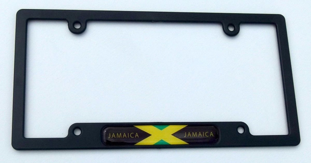 Jamaica Jamaican Flag Black Plastic Car License Plate Frame Domed Decal Insert