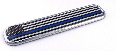USA police thin blue line Chrome Emblem 3D auto Decal car bike boat 5.3""