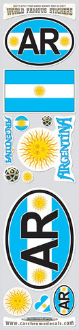 Argentina 12 Stickers Set Flag Decal Bumper stiker car Bike Laptop