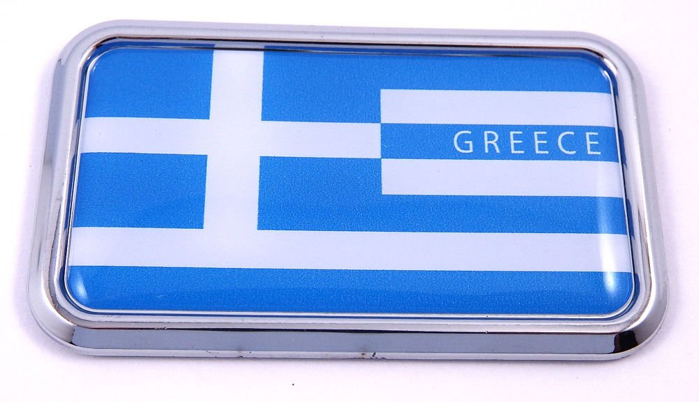 "Greek Greece Flag rectanguglar Chrome Emblem 3D Car Decal Sticker 3"" x 1.75"""