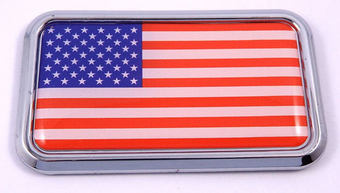 "USA American Flag rectanguglar Chrome Emblem 3D Car Decal Sticker 3""x1.75"""