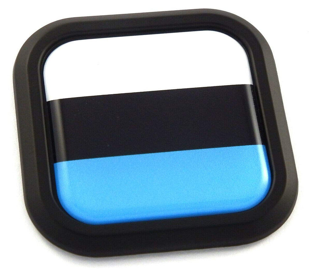 Estonia Flag Square Black rim Emblem Car 3D Decal Badge Hood Bumper sticker 2""
