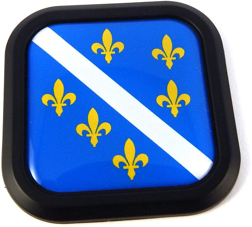 Bosnia Old Style Flag Square Black rim Emblem Car 3D Decal Badge Bumper 2""
