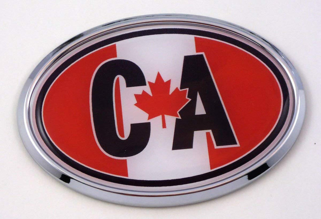 Canada CA Canadian Flag Car Chrome Emblem Bumper Sticker Flag Decal Oval