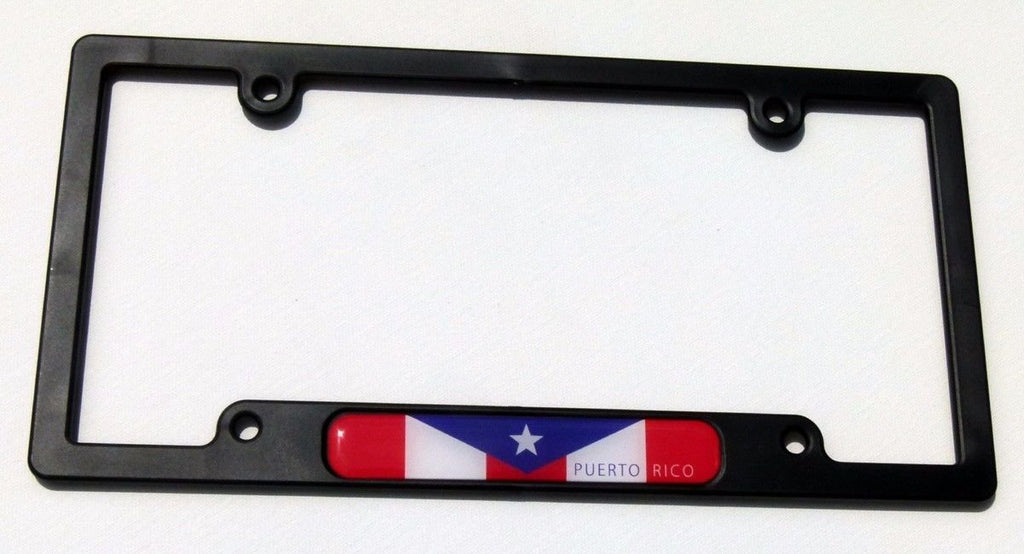 Puerto Rico Rican Flag Black Plastic Car License Plate Frame Dome Decal