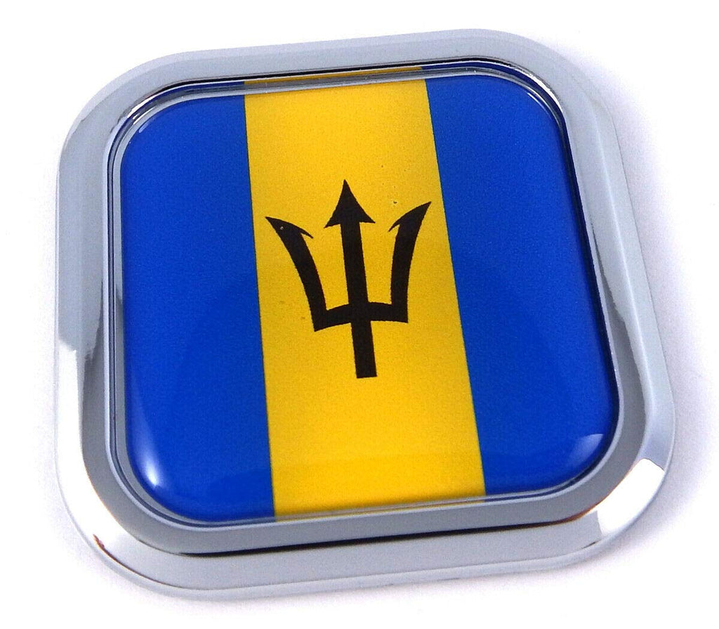Barbados Flag Square Chrome rim Emblem Car 3D Decal Badge Bumper Hood sticker 2""