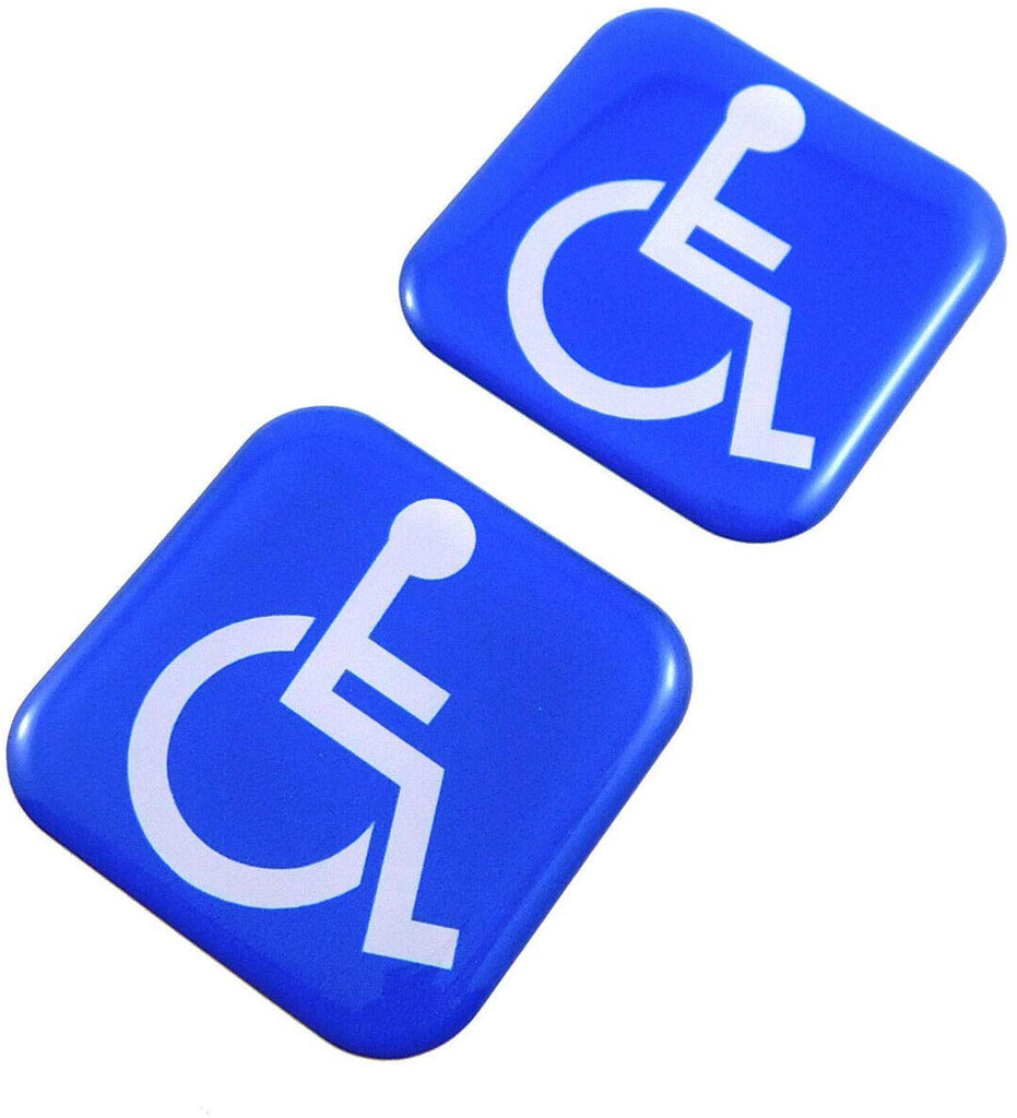 "Handicap Square Domed Decal car Bike Gel Stickers 1.5"" 2pc"