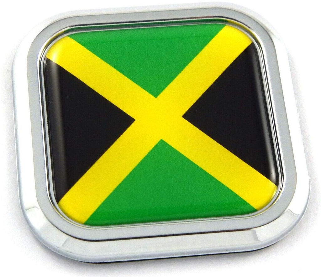 Jamaica Flag Square Chrome rim Emblem Car 3D Decal Badge Hood Bumper sticker 2""