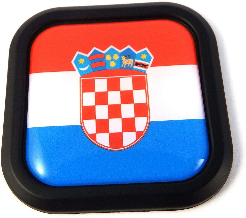 Croatia Flag Square Black rim Emblem Car 3D Decal Badge Hood Bumper sticker 2""