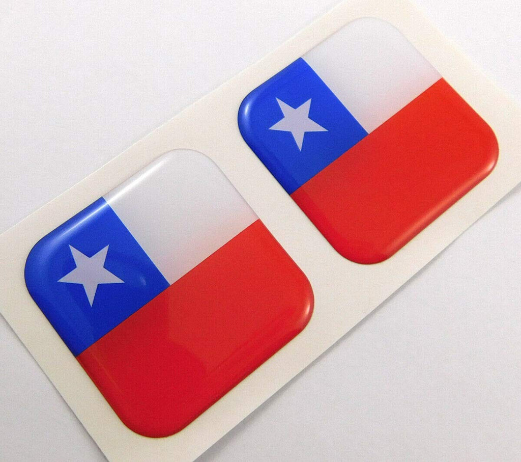 "Chile Chilean Flag Square Domed Decal Emblem car Bike Gel Stickers 1.5"" 2pc."