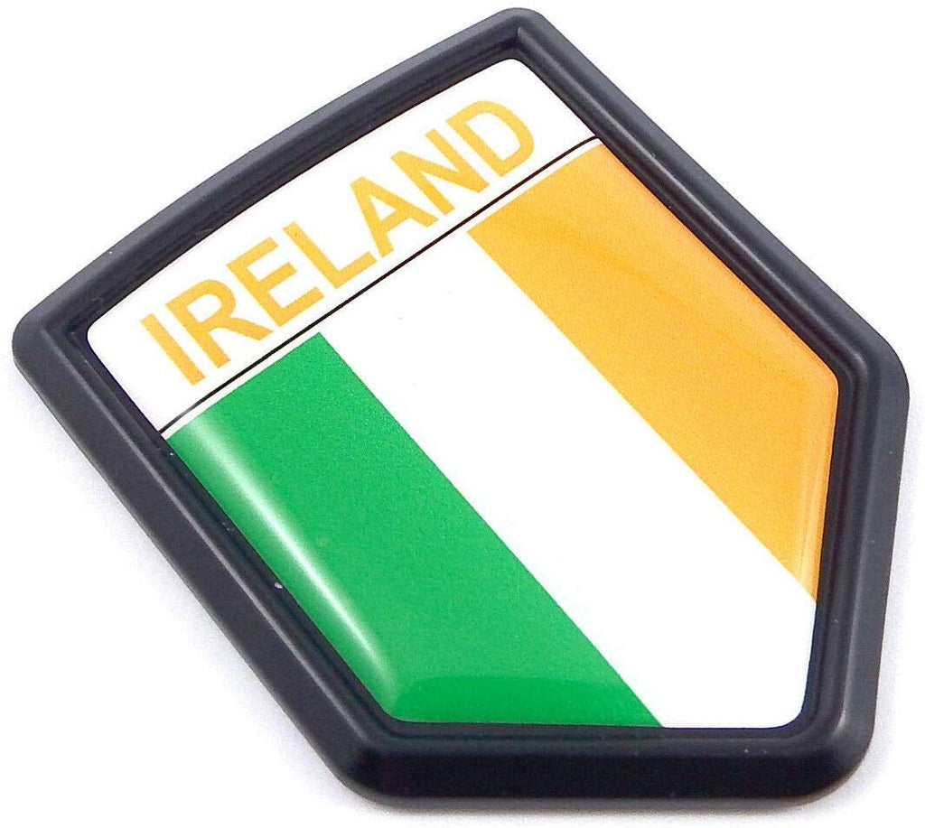 Ireland, Irish Flag Black Shield Car Bike Decal Crest Emblem Badge