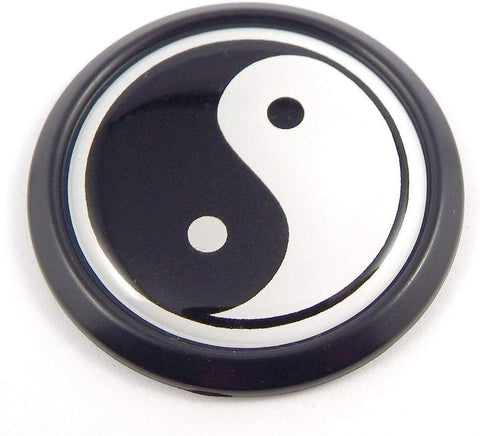 Yin Yang Black Round Flag Car Decal Emblem Bumper 3D Sticker Badge 1.85""