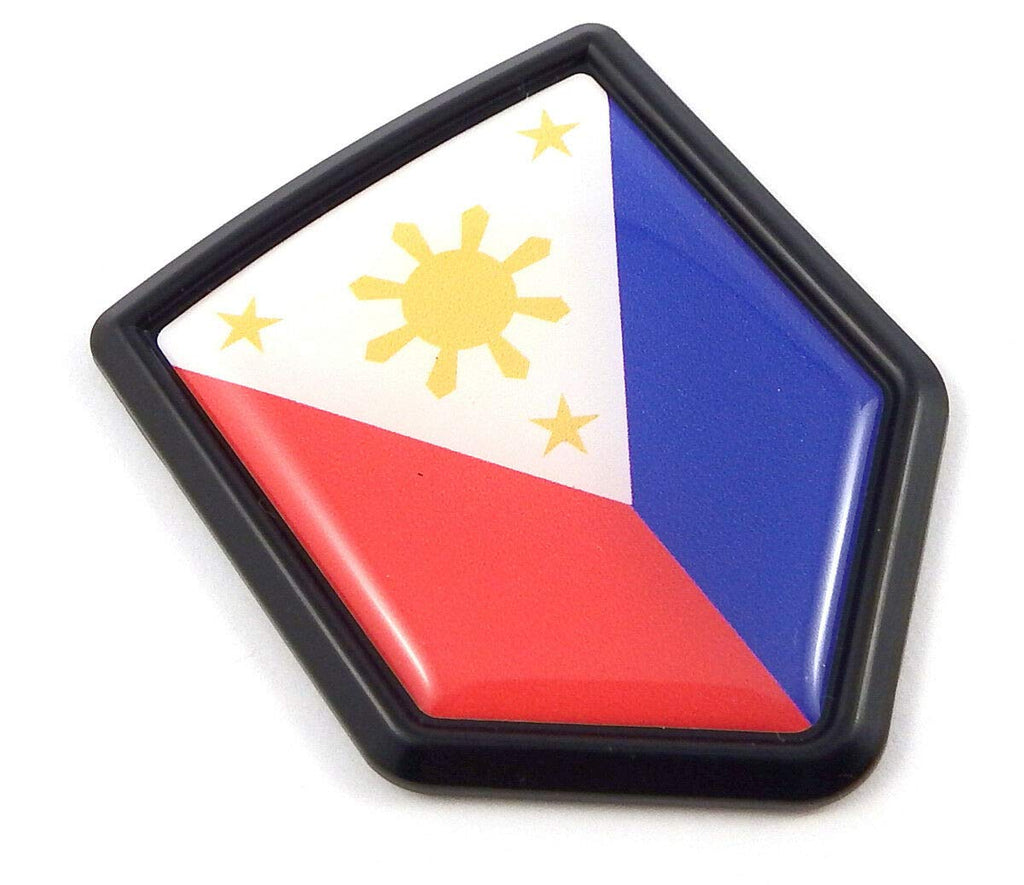 Philippines Philippine Flag Black Shield Car Bike Decal Crest Emblem 3D Sticker