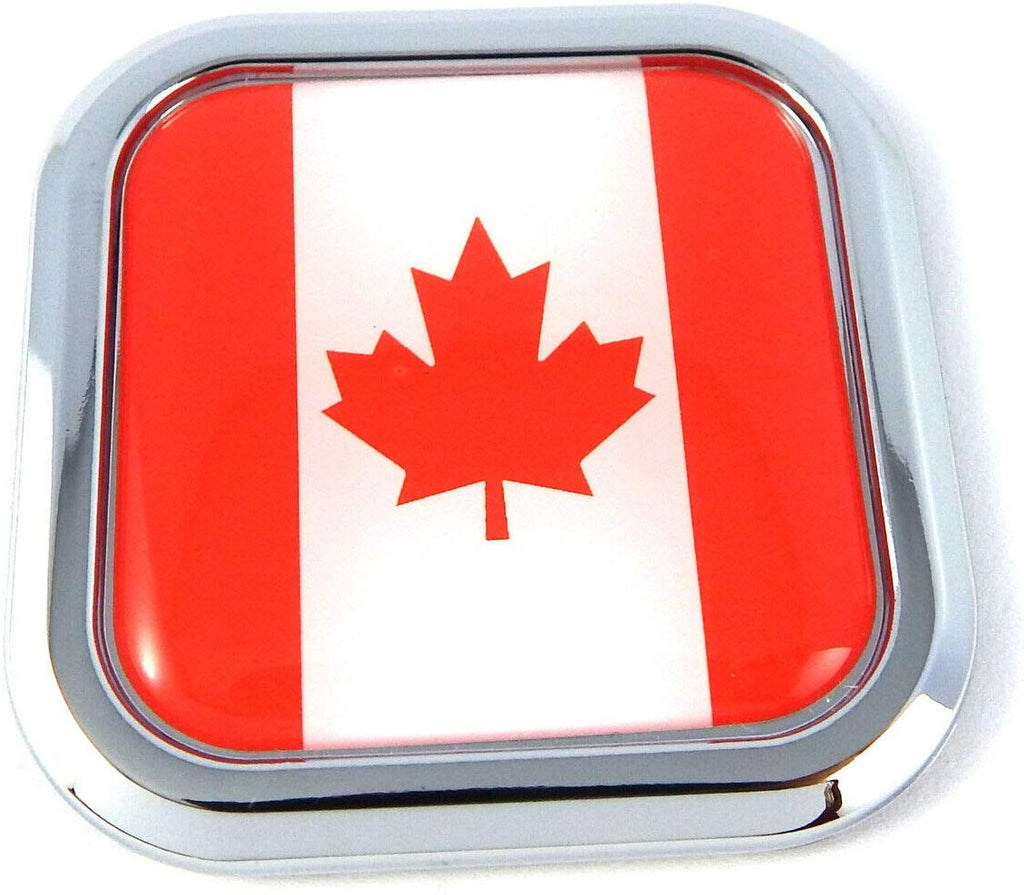 Canada Flag Square Chrome rim Emblem Car 3D Decal Badge Hood Bumper sticker 2""