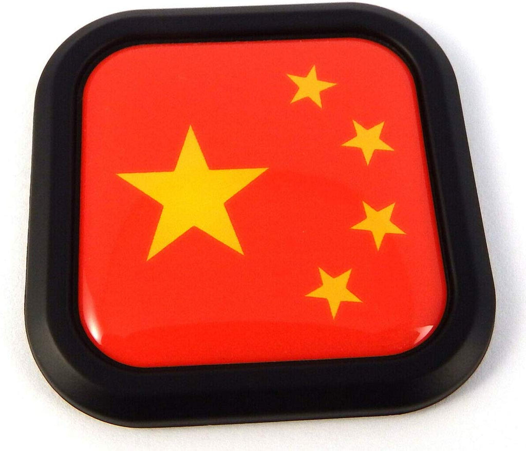 China Flag Square Black rim Emblem Car 3D Decal Badge Hood Bumper sticker 2""