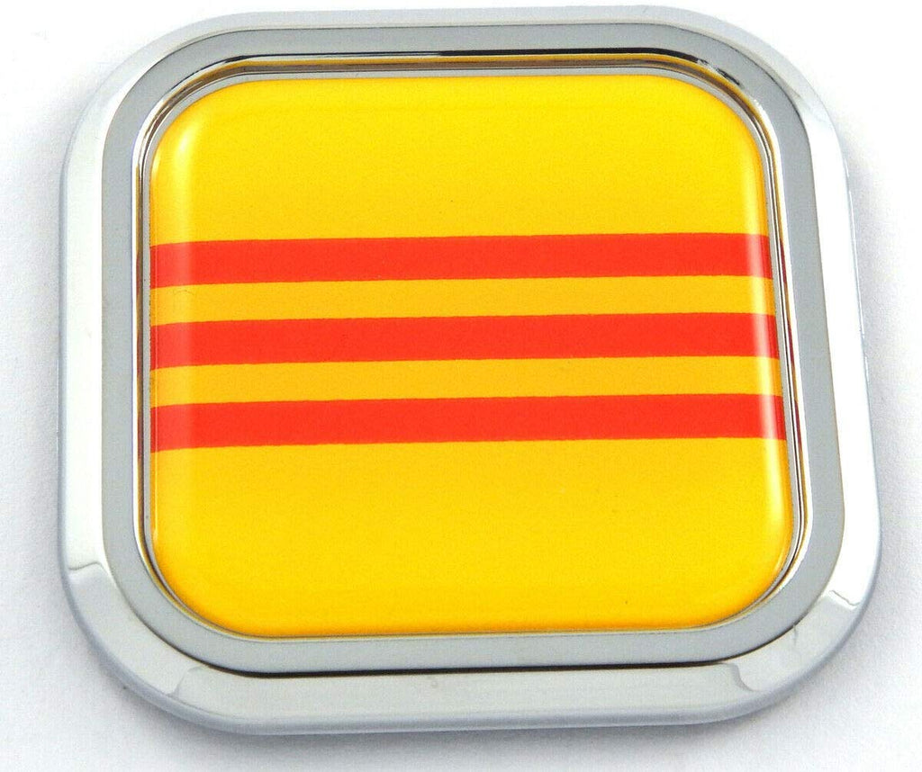 Vietnam yellow Flag Square Chrome Emblem Car 3D Decal Badge Bumper sticker 2""
